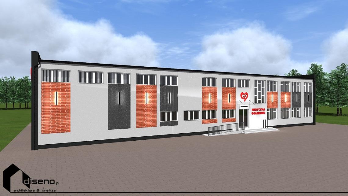 Projekt elewacji Centrum Medycznego Grabieniec - Łódź
