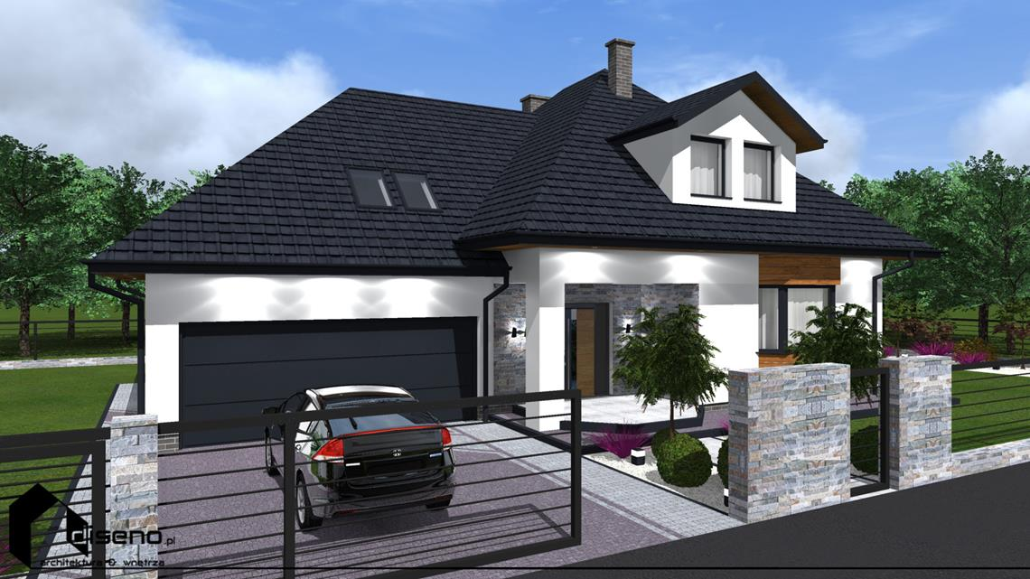 Kolorystyka elewacji - dom w Rzeszowie - projekt diseno
