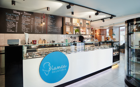 Projekt lodziarni / kawiarni w Rzeszowie - zdjęcia Bianca