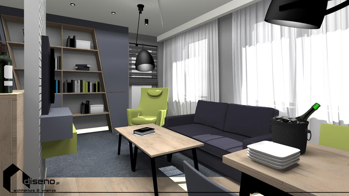 Projekt mieszkania na osiedlu Słoneczny Stok w Rzeszowie - aranżacja diseno