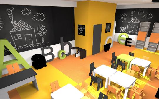 Projekt przedszkola w Kielcach - aranżacja wnętrz firmowych - diseno