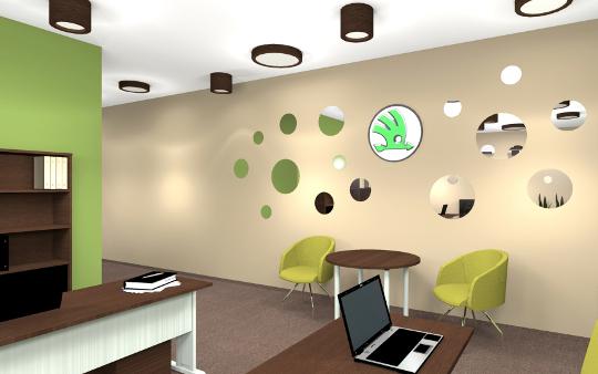 Projekt salonu Skody (Mielec) - aranżacja diseno