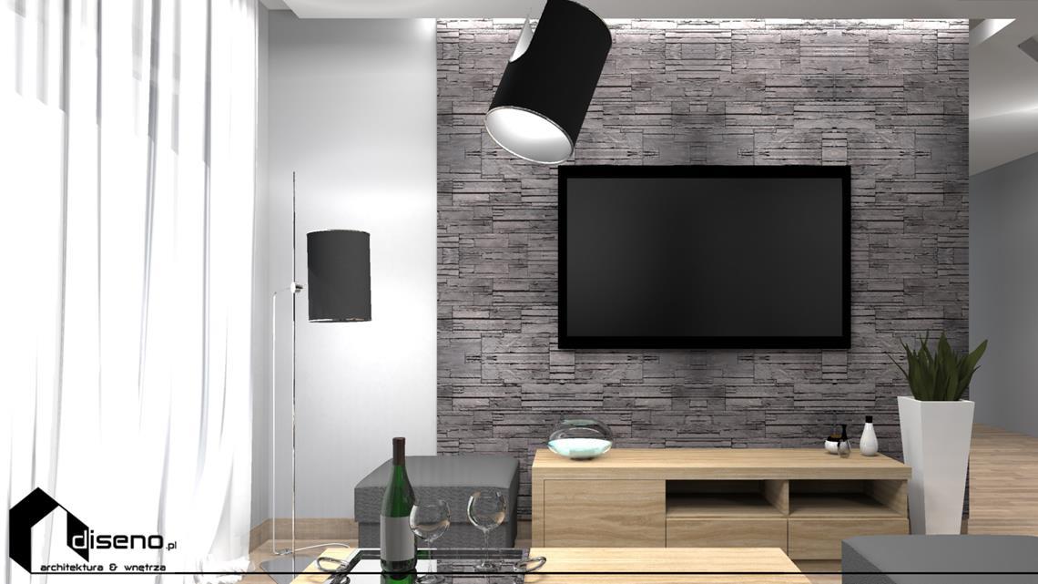 Aranżacja salonu - Trzciana - projektowanie wnętrz diseno