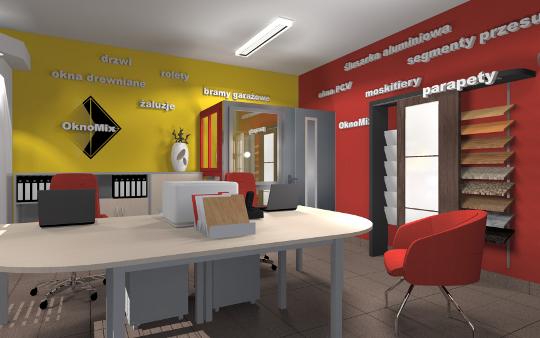 Projekt sklepu Oknomix Rzeszów - aranżacja diseno