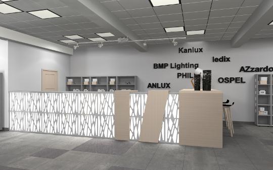 Projekt wnętrz sklepu elektrycznego w Lubaczowie - diseno