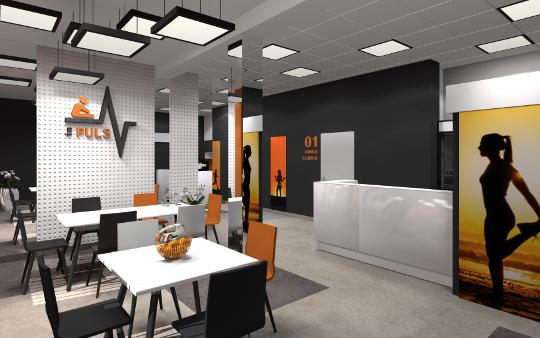 Wnętrza klubu fitness w Lubaczowie - projekt diseno